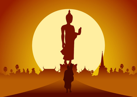 Illustration pour monk walk out of temple pilgrimage the road to make merit in rural and forest. for peace silent and dharma in sunset big sun behind image of Buddha stand pose scene silhouette ,vector illustration - image libre de droit
