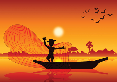 Ilustración de Country life, man throw fish net to catch fish on boat in pond lake,silhouette style,on sunset time,vector illustration. - Imagen libre de derechos