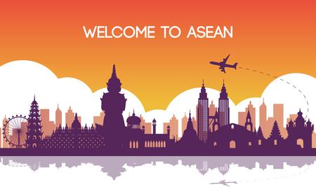 Ilustración de famous landmark of southeast Asia,travel destination,silhouette design,purple and orange gradient color,vector illustration - Imagen libre de derechos