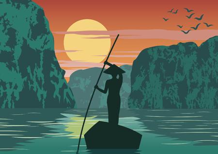 Illustration pour man row boat to go to come back home by pass Ha long bay famous landmark of Vietnam ,vintage color,vector illustration - image libre de droit