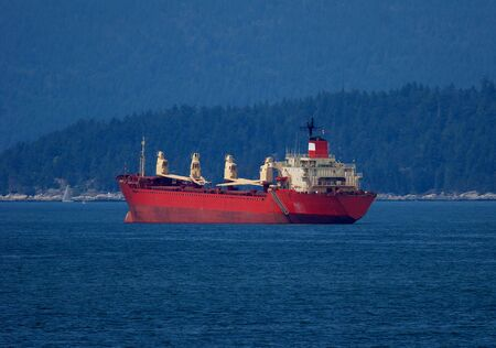 Freighter at anchor in Vancouver harbour