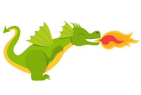 Ilustración de Dragon with a fire - Imagen libre de derechos