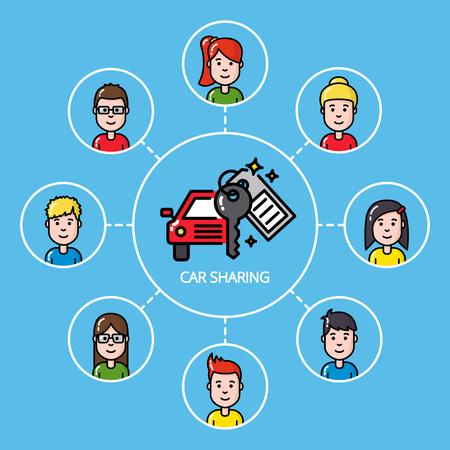 Illustration pour Car sharing concept with group of people - image libre de droit