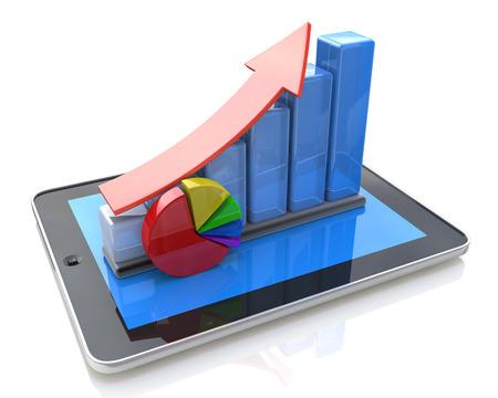 Foto de Mobile office, statistics accounting, financial development and banking business concept: tablet computer, growth bar chart - Imagen libre de derechos