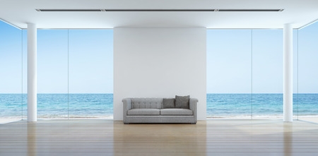 Photo for Sea view living room interior in modern beach house - 3D rendering - Royalty Free Image