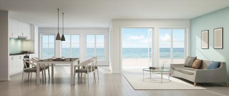 Foto de Sea view living room, dining room and kitchen, Beach house - 3D rendering - Imagen libre de derechos