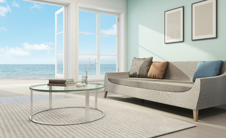 Photo pour Sea view living room in beach house - 3D rendering - image libre de droit