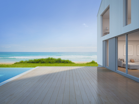 Photo for Luxury beach house with sea view swimming pool and empty terrace in modern design, Vacation home for big family - 3d rendering of residential building - Royalty Free Image
