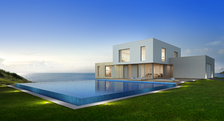 Foto de Luxury beach house with sea view swimming pool and terrace in modern design, Vacation home for big family - 3d rendering of new residential building - Imagen libre de derechos