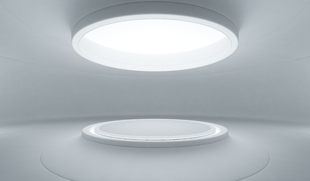 Foto de Abstract interior design of modern showroom with empty white floor and curved concrete wall background, Podium for product display in future architecture or spaceship - Stage 3d illustration - Imagen libre de derechos