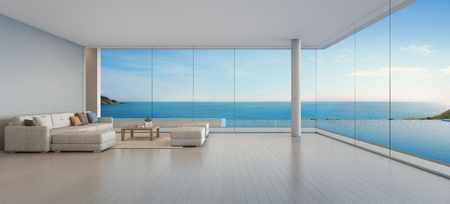 Photo for Large sofa on wooden floor near glass window and swimming pool with terrace at penthouse apartment, Lounge in sea view living room of modern luxury beach house or hotel - Home interior 3d illustration - Royalty Free Image