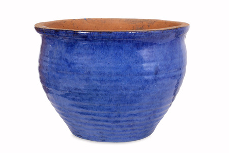 Photo pour Blue pottery flower pot - image libre de droit