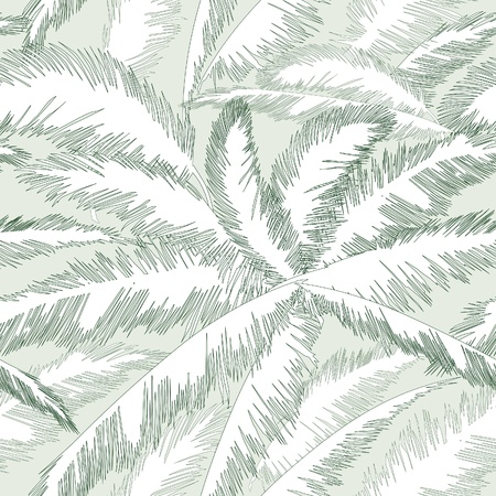Illustration pour Decorative abstract floral seamless pattern  Palm leaves seamless background   - image libre de droit