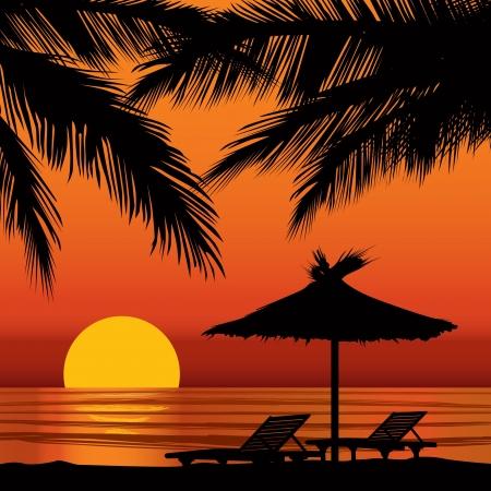 Illustration pour Sunset view in beach with palm tree  - image libre de droit