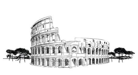 Ilustración de Colosseum in Rome, Italy  Landmark of Coliseum, hand drawn illustration  Rome city landscape   - Imagen libre de derechos