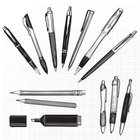 Illustration pour Pen set  Hand drawn vector  Pencils, pens and marker collection isolated on white  - image libre de droit