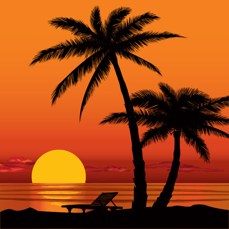 Illustration pour Summer holidays background  Sunset View Poster  Vector beach resort wallpaper  - image libre de droit