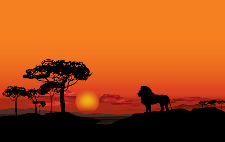 Illustration for African landscape with animal silhouette - Royalty Free Image