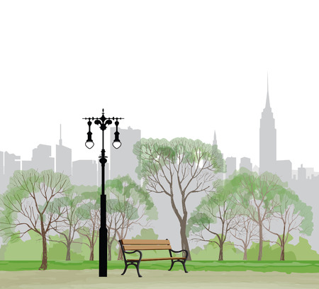 Illustration pour Bench and streetlight in park over city background.  Landscape of Central Park in New York. USA. - image libre de droit