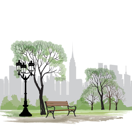 Ilustración de Bench and streetlight in park over city background.  Landscape of Central Park in New York. USA. - Imagen libre de derechos