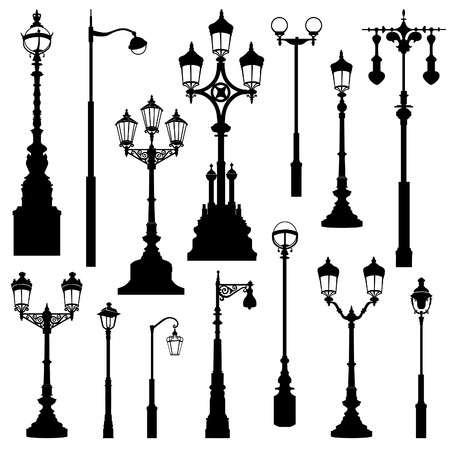 Illustrazione per Street lamp set. Street lights retro collection. - Immagini Royalty Free