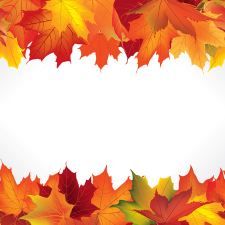 Autumn frame with leaves. Fall seamless border background with copy space.