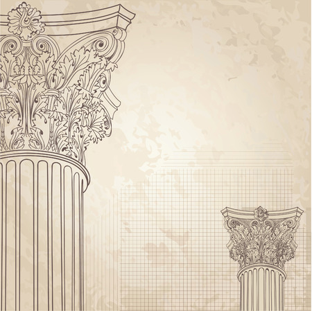 Illustration for Classic columns seamless background. Roman corinthian column. Illustration onold paper background for design sketch - Royalty Free Image