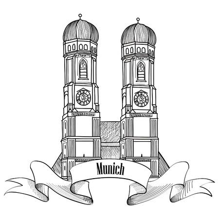 Illustration pour Munich city label. Munich Cathedral, Liebfrauenkirche in Munich/ Travel Germany emblem. Bavaria capital sign. - image libre de droit