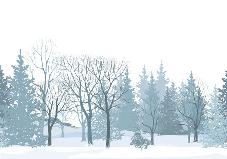 Illustration pour Christmas snow tree border. Snowy forest seamless pattern.Tree without leaves on white background. Plant seamless texture.  Winter park seamless wallpaper. - image libre de droit