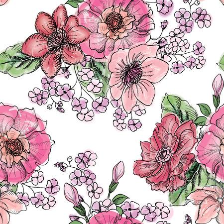 Illustration for Floral seamless pattern. Flower bouquet background. Vintage flourish border for spring card design. - Royalty Free Image