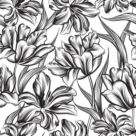 Illustration pour Floral seamless pattern. Flower background. Floral seamless texture with flowers. - image libre de droit