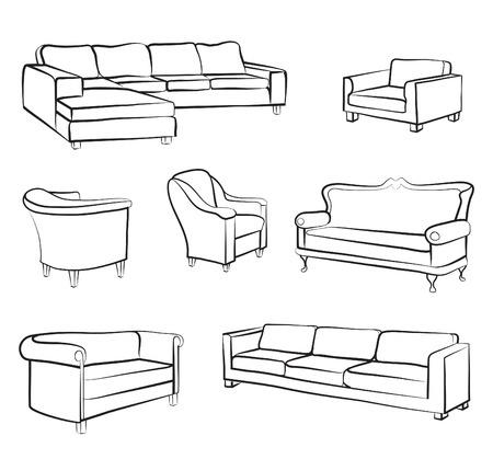 Illustration pour Furniture set. Interior detail outline collection: bed, sofa, settee, armchair. - image libre de droit