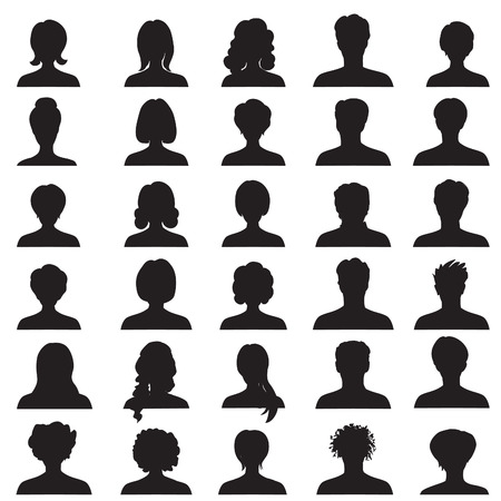 Illustrazione per Avatar collection, People profile silhouettes - Immagini Royalty Free