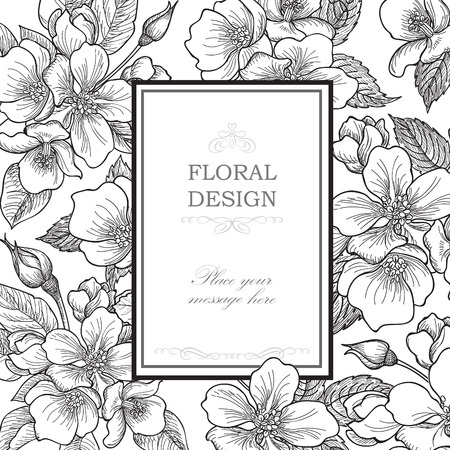 Illustration pour Floral background. Flower bouquet vintage cover. Flourish card with copy space. Gentle spring apple tree blooming flowers greeting card. - image libre de droit