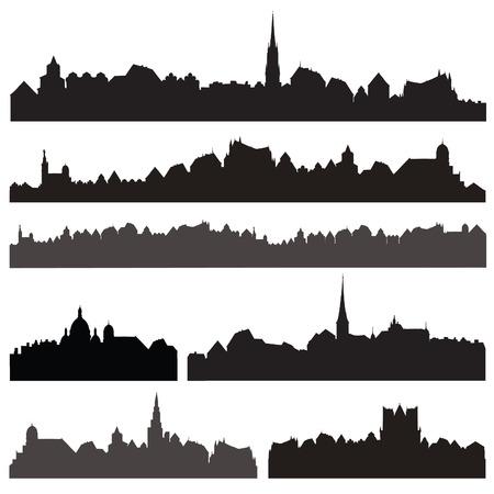 Illustration pour City silhouett set. European cityscape isolated. Skyline set. Buildings silhouette collection. - image libre de droit