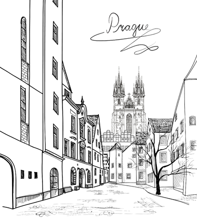 Illustration pour Old Town of Prague, Czech Republic. Pedestrian street in the old european city with tower on the background. Historic city street. Travel Prague bakcground. - image libre de droit