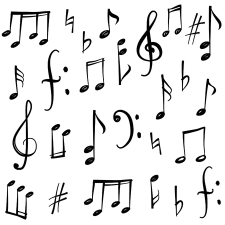 Illustration pour Music notes and signs set. Hand drawn music symbol sketch collection - image libre de droit