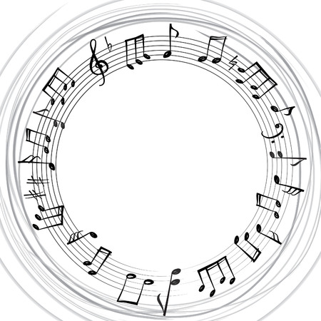 Illustration pour Music notes border. Musical background. Music style round shape frame with copy space for text. Treble clef and notes wallpaper. - image libre de droit