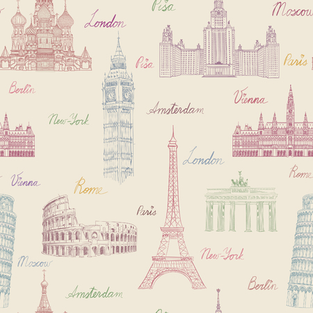 Ilustración de Travel seamless pattern. Vacation in Europe wallpaper. Travel to visit famous places of Europe background. Landmark tiled grunge pattern. - Imagen libre de derechos