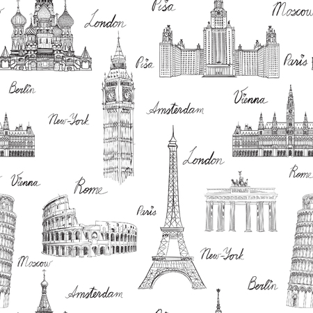 Illustration for Travel seamless pattern. Vacation in Europe wallpaper. Travel to visit famous places of Europe background. Landmark tiled grunge pattern. - Royalty Free Image
