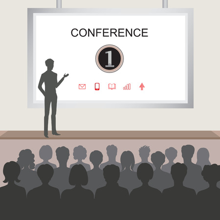 Illustration pour Conference room illustration. People at the conference hall. Business meeting template - image libre de droit