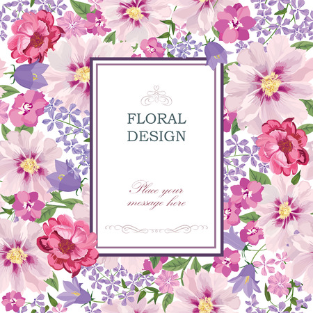 Illustration for Floral background. Flower bouquet vintage cover. Flourish card with copy space. - Royalty Free Image