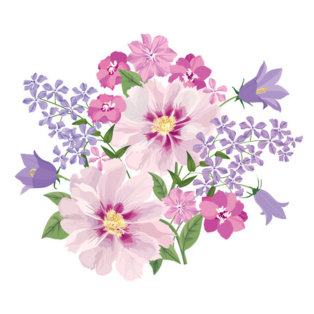 Ilustración de Flower bouquet. Floral frame. Flourish greeting card. Blooming flowers isolated on white background - Imagen libre de derechos