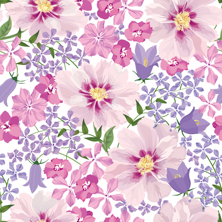 Ilustración de Floral seamless pattern. Flower background. Floral seamless texture with flowers. - Imagen libre de derechos