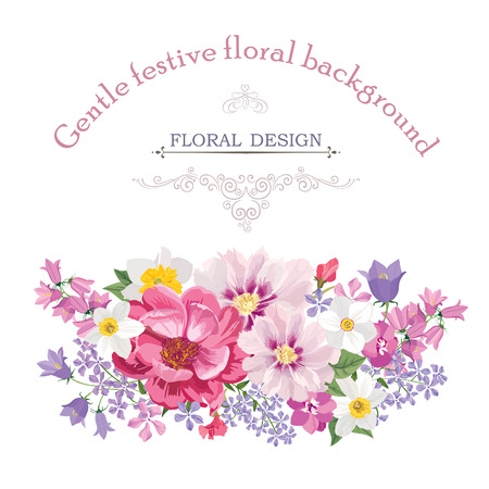 Ilustración de Floral frame with summer flowers. Floral bouquet with rose, narcissus, carnation, lilac and wildflower. Vintage Greeting Card with flowers. Watercolor flourish border. Floral background. - Imagen libre de derechos