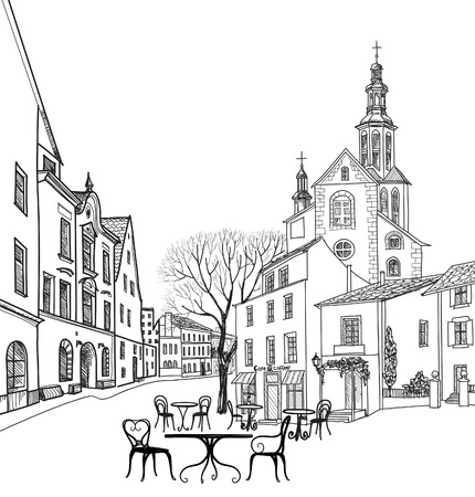 Illustration pour Street cafe in old city. Cityscape - houses, buildings and tree on alleyway. Old city view. Medieval european castle landscape. Pencil drawn vector sketch - image libre de droit