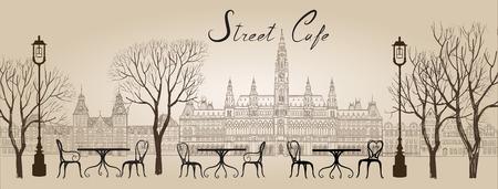Illustration pour Street cafe in old town graphic illustration. Old cown views and street cafes. Dining hours along a Vienna cobblestone alley - image libre de droit