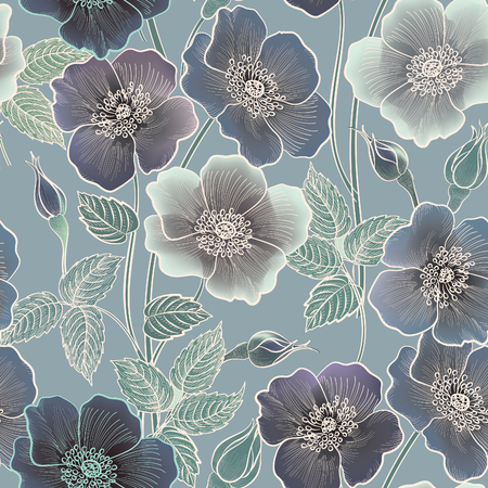 Illustration pour Floral seamless pattern. Flower background. Floral tile ornamental texture with flowers. Spring flourish garden - image libre de droit