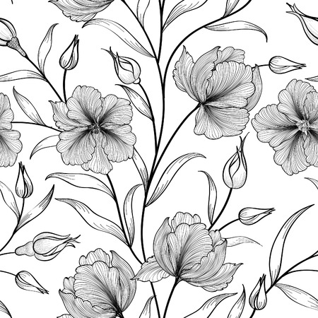 Ilustración de Floral seamless pattern. Flower background. Floral tile ornamental texture with flowers. Spring flourish garden - Imagen libre de derechos