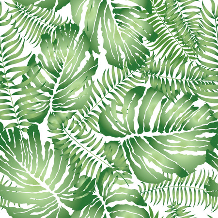 Illustration pour Floral abstract leaf tiled pattern. Tropical palm leaves seamless background - image libre de droit